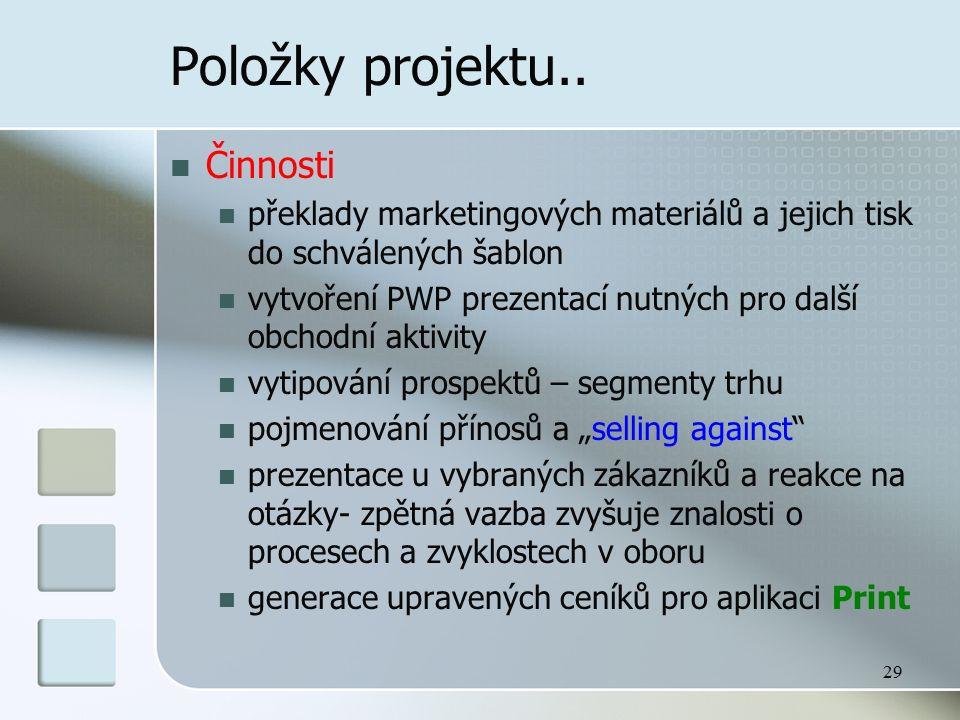 29 Položky projektu.. Činnosti překlady marketingových materiálů a jejich tisk do schválených šablon vytvoření PWP prezentací nutných pro další obchod