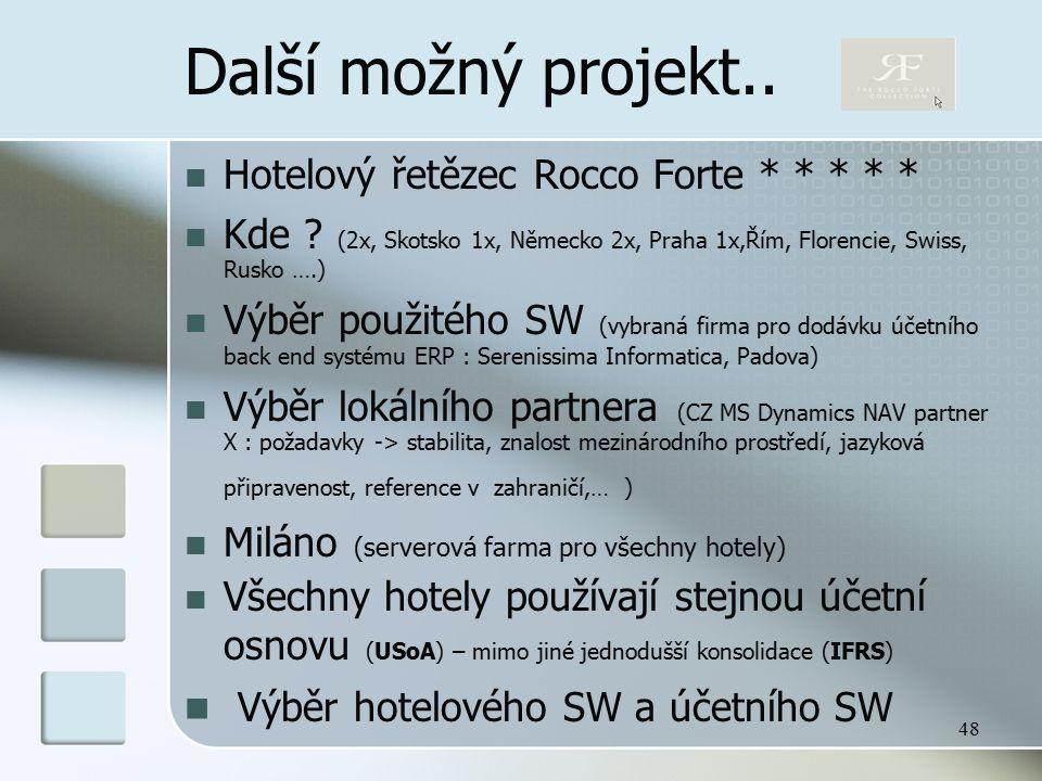 48 Další možný projekt.. Hotelový řetězec Rocco Forte * * * * * Kde .