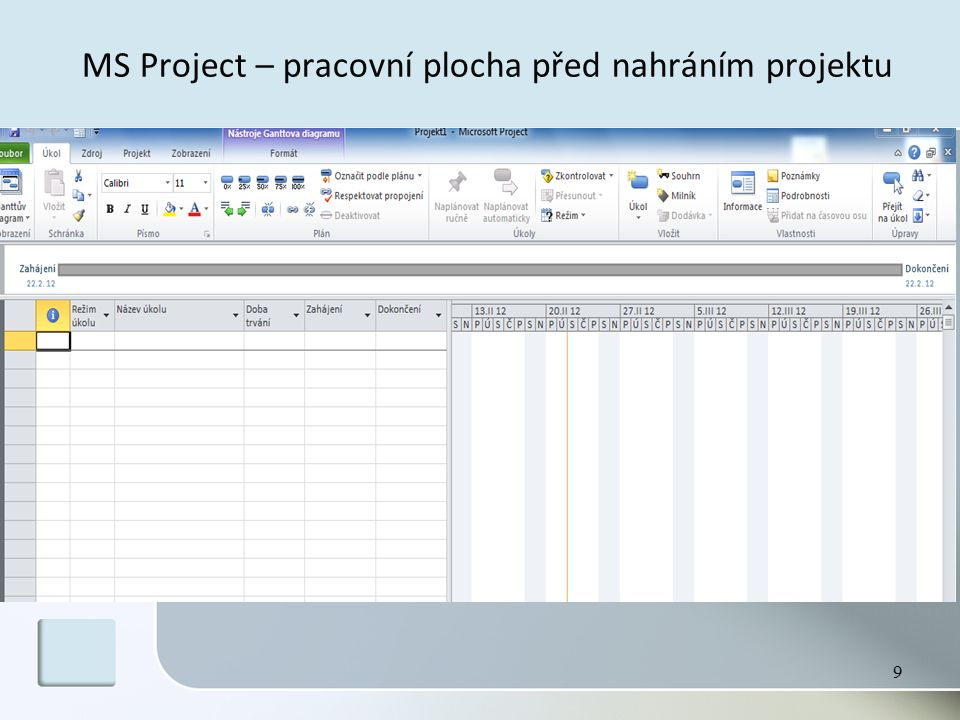 MS Project – pracovní plocha před nahráním projektu 9