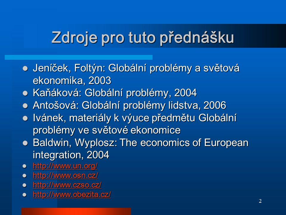 2 Zdroje pro tuto přednášku Jeníček, Foltýn: Globální problémy a světová ekonomika, 2003 Jeníček, Foltýn: Globální problémy a světová ekonomika, 2003