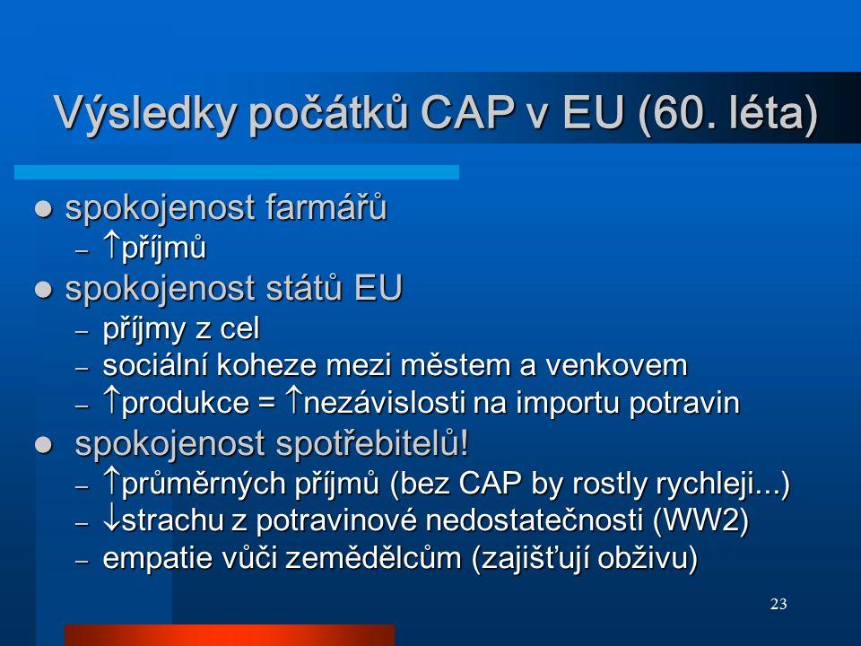 23 Výsledky počátků CAP v EU (60. léta) spokojenost farmářů spokojenost farmářů –  příjmů spokojenost států EU spokojenost států EU – příjmy z cel –