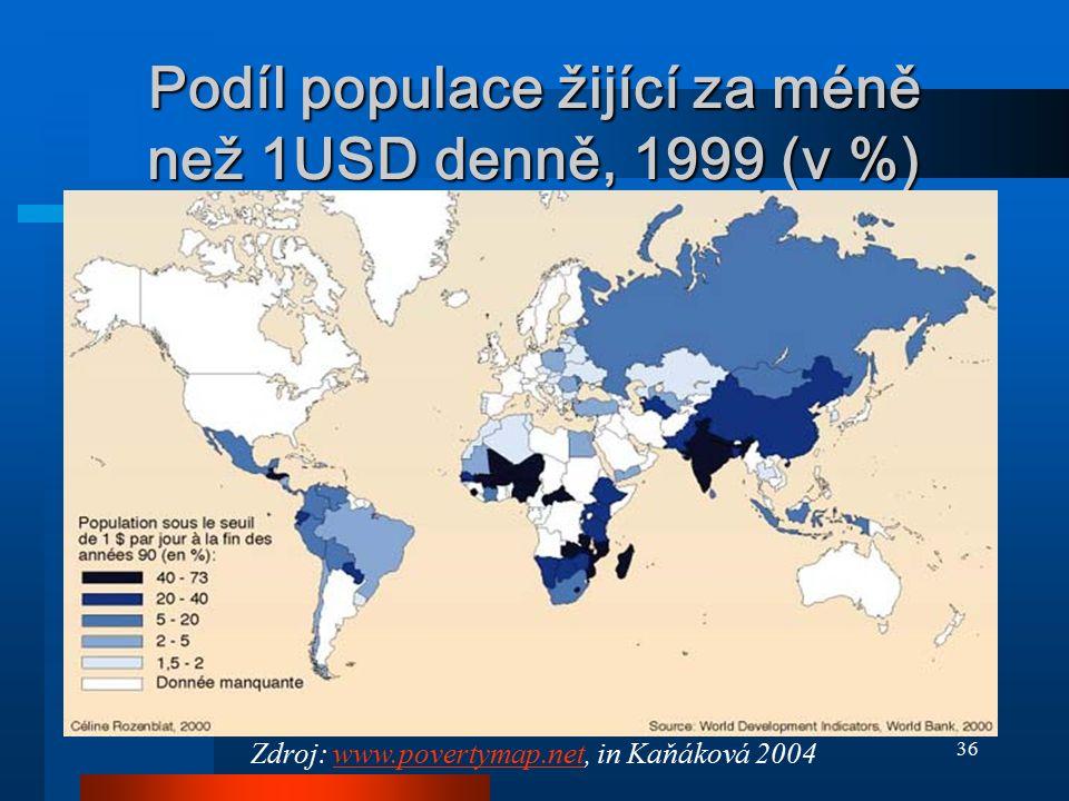 36 Podíl populace žijící za méně než 1USD denně, 1999 (v %) Zdroj: www.povertymap.net, in Kaňáková 2004www.povertymap.net