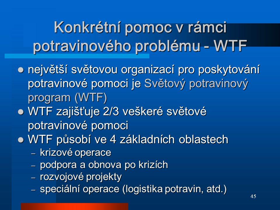 45 Konkrétní pomoc v rámci potravinového problému - WTF největší světovou organizací pro poskytování potravinové pomoci je Světový potravinový program
