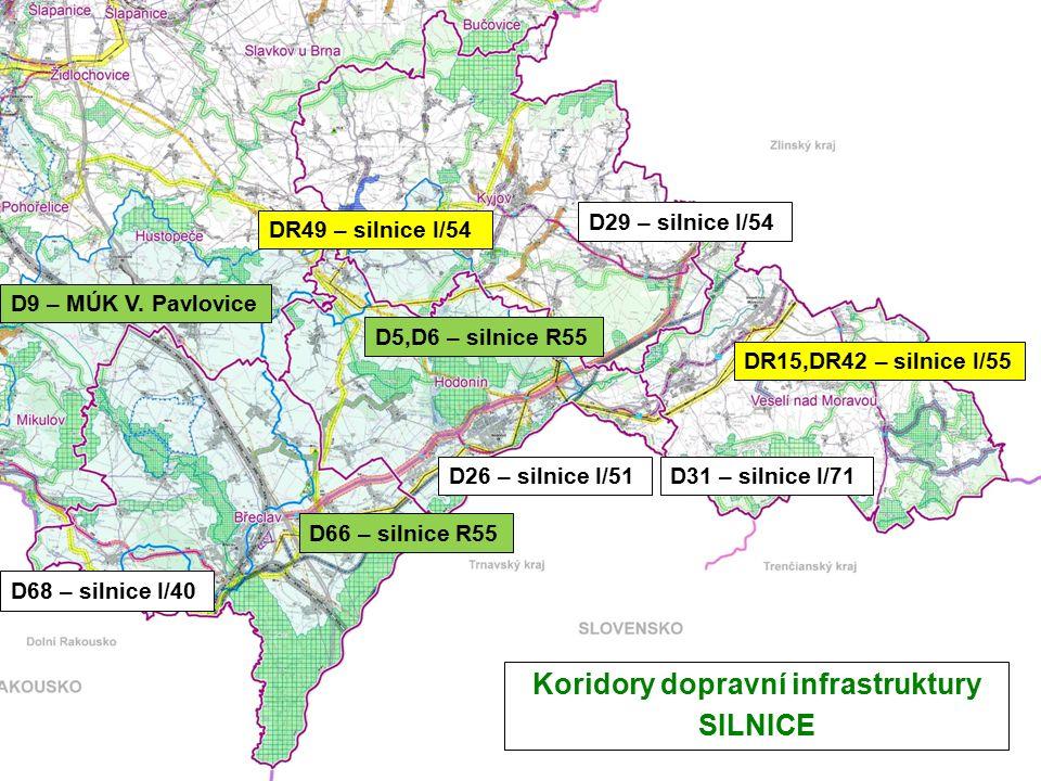 Koridory dopravní infrastruktury SILNICE D31 – silnice I/71 D29 – silnice I/54 D9 – MÚK V.