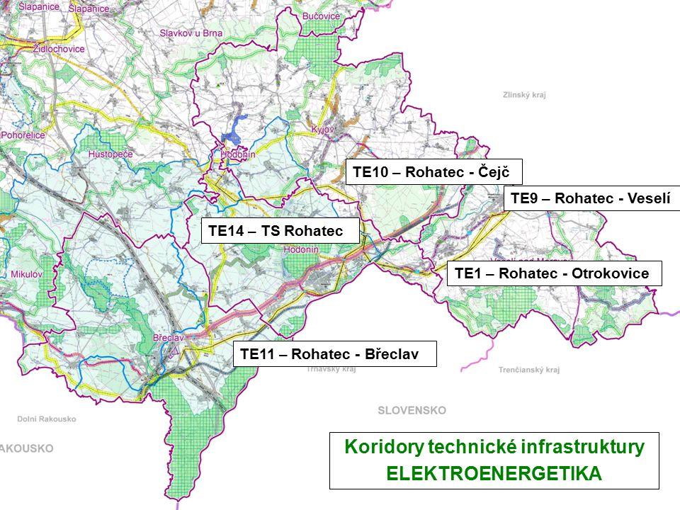 Koridory technické infrastruktury ELEKTROENERGETIKA TE11 – Rohatec - Břeclav TE10 – Rohatec - Čejč TE9 – Rohatec - Veselí TE14 – TS Rohatec TE1 – Rohatec - Otrokovice