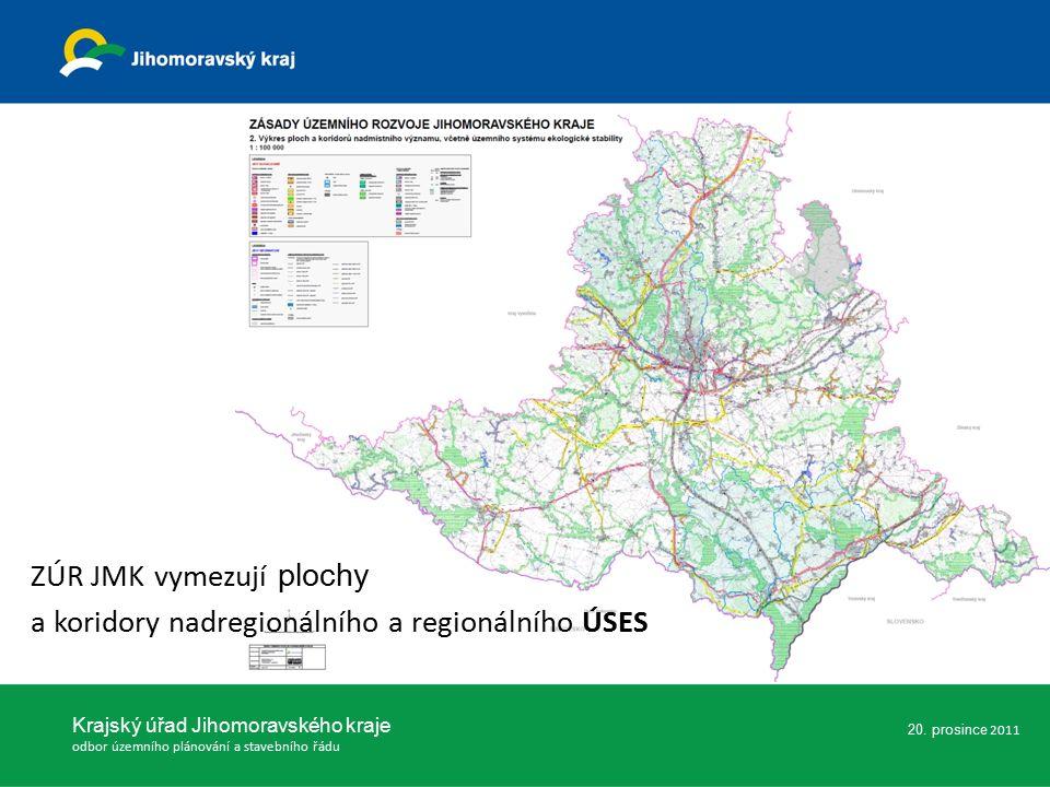 ZÚR JMK vymezují plochy a koridory nadregionálního a regionálního ÚSES 20.