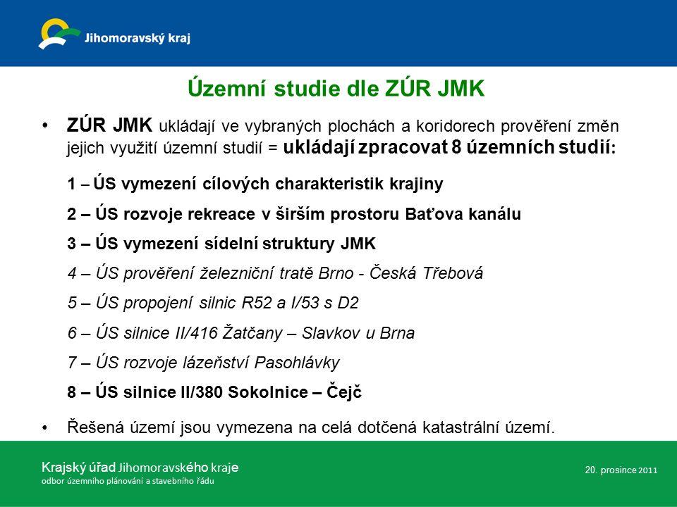 ZÚR JMK ukládají ve vybraných plochách a koridorech prověření změn jejich využití územní studií = ukládají zpracovat 8 územních studií : 1 – ÚS vymezení cílových charakteristik krajiny 2 – ÚS rozvoje rekreace v širším prostoru Baťova kanálu 3 – ÚS vymezení sídelní struktury JMK 4 – ÚS prověření železniční tratě Brno - Česká Třebová 5 – ÚS propojení silnic R52 a I/53 s D2 6 – ÚS silnice II/416 Žatčany – Slavkov u Brna 7 – ÚS rozvoje lázeňství Pasohlávky 8 – ÚS silnice II/380 Sokolnice – Čejč Řešená území jsou vymezena na celá dotčená katastrální území.