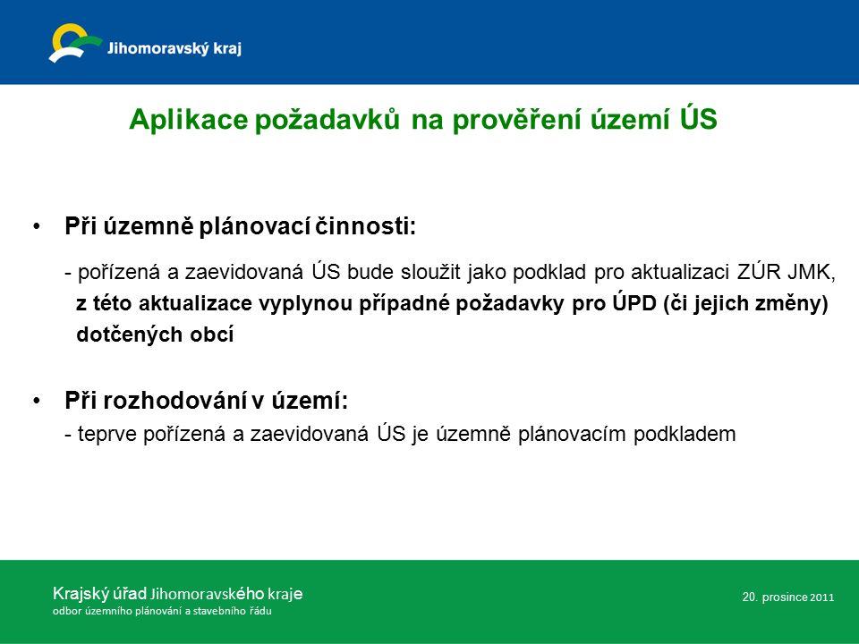 Při územně plánovací činnosti: - pořízená a zaevidovaná ÚS bude sloužit jako podklad pro aktualizaci ZÚR JMK, z této aktualizace vyplynou případné požadavky pro ÚPD (či jejich změny) dotčených obcí Při rozhodování v území: - teprve pořízená a zaevidovaná ÚS je územně plánovacím podkladem Krajský úřad Jihomoravsk ého kraj e odbor územního plánování a stavebního řádu Aplikace požadavků na prověření území ÚS 20.