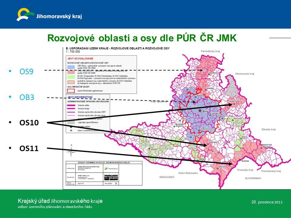 OS9 OB3 OS10 OS11 Rozvojové oblasti a osy dle PÚR ČR JMK Krajský úřad Jihomoravsk ého kraj e odbor územního plánování a stavebního řádu 20.