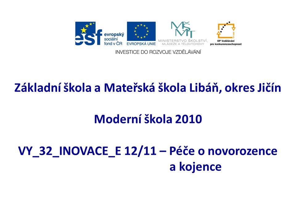 Základní škola a Mateřská škola Libáň, okres Jičín Moderní škola 2010 VY_32_INOVACE_E 12/11 – Péče o novorozence a kojence
