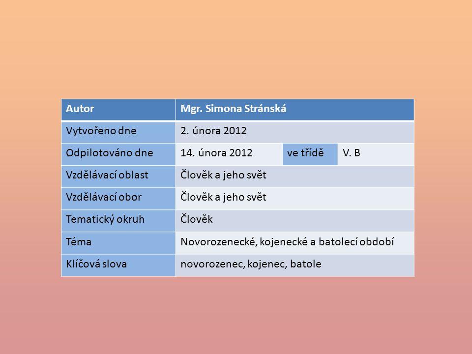 AutorMgr. Simona Stránská Vytvořeno dne2. února 2012 Odpilotováno dne14.