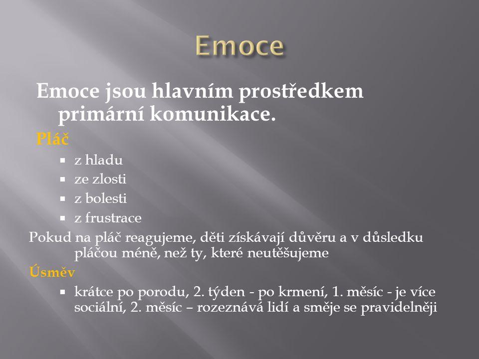Emoce jsou hlavním prostředkem primární komunikace.