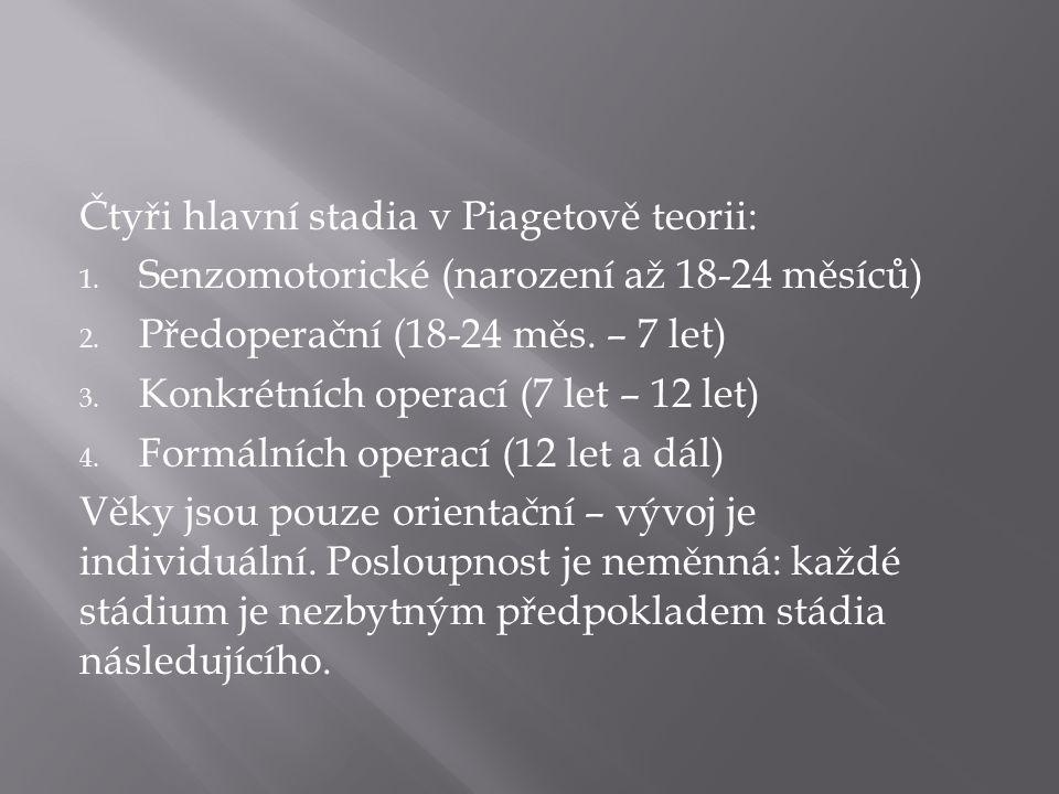 Čtyři hlavní stadia v Piagetově teorii: 1. Senzomotorické (narození až 18-24 měsíců) 2.