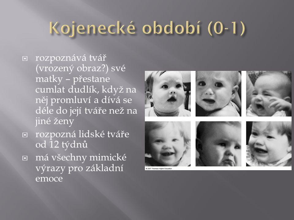  rozpoznává tvář (vrozený obraz ) své matky – přestane cumlat dudlík, když na něj promluví a dívá se déle do její tváře než na jiné ženy  rozpozná lidské tváře od 12 týdnů  má všechny mimické výrazy pro základní emoce