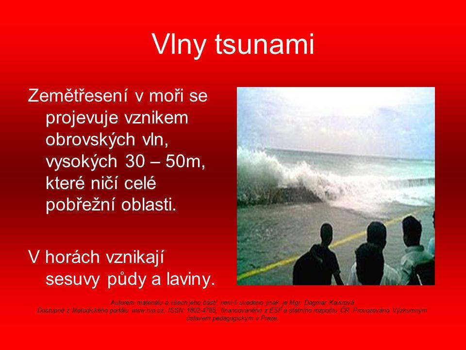 Vlny tsunami Zemětřesení v moři se projevuje vznikem obrovských vln, vysokých 30 – 50m, které ničí celé pobřežní oblasti.