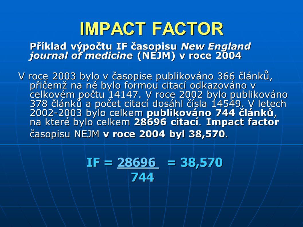 IMPACT FACTOR Příklad výpočtu IF časopisu New England journal of medicine (NEJM) v roce 2004 V roce 2003 bylo v časopise publikováno 366 článků, přičemž na ně bylo formou citací odkazováno v celkovém počtu 14147.