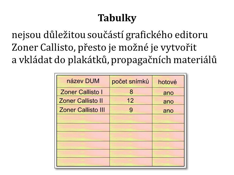 nejsou důležitou součástí grafického editoru Zoner Callisto, přesto je možné je vytvořit a vkládat do plakátků, propagačních materiálů Tabulky