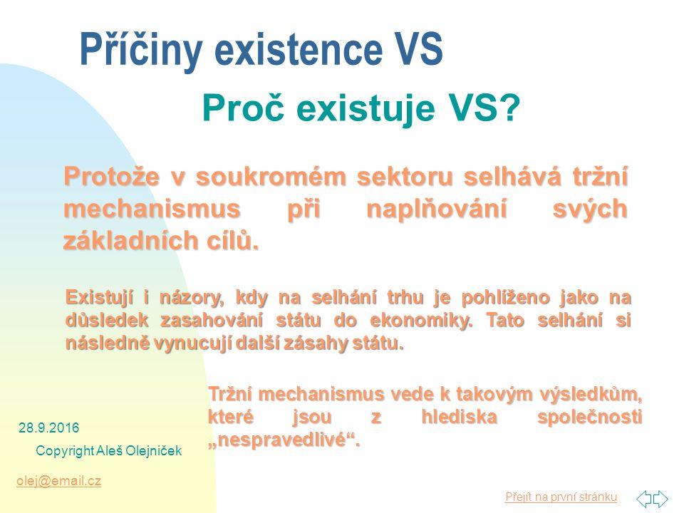 Přejít na první stránku olej@email.cz 28.9.2016 Copyright Aleš Olejniček Příčiny existence VS Proč existuje VS.