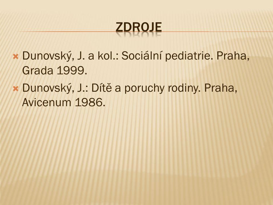 Dunovský, J. a kol.: Sociální pediatrie. Praha, Grada 1999.