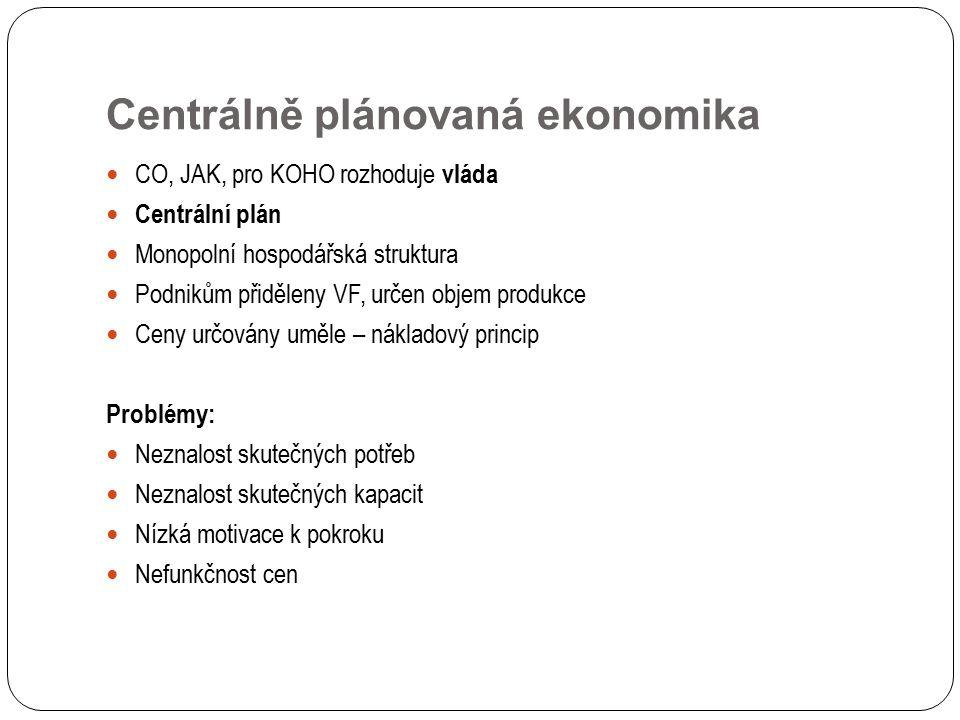 Centrálně plánovaná ekonomika CO, JAK, pro KOHO rozhoduje vláda Centrální plán Monopolní hospodářská struktura Podnikům přiděleny VF, určen objem prod
