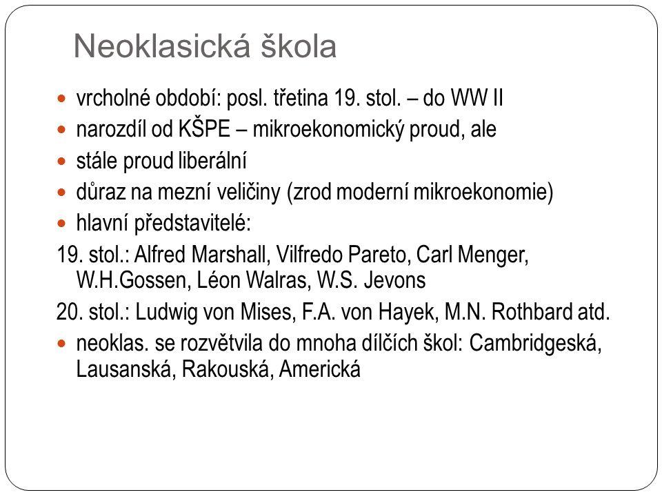 Neoklasická škola vrcholné období: posl. třetina 19. stol. – do WW II narozdíl od KŠPE – mikroekonomický proud, ale stále proud liberální důraz na mez
