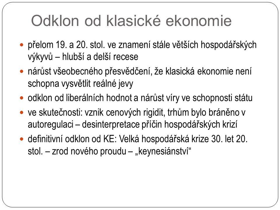 Odklon od klasické ekonomie přelom 19. a 20. stol.