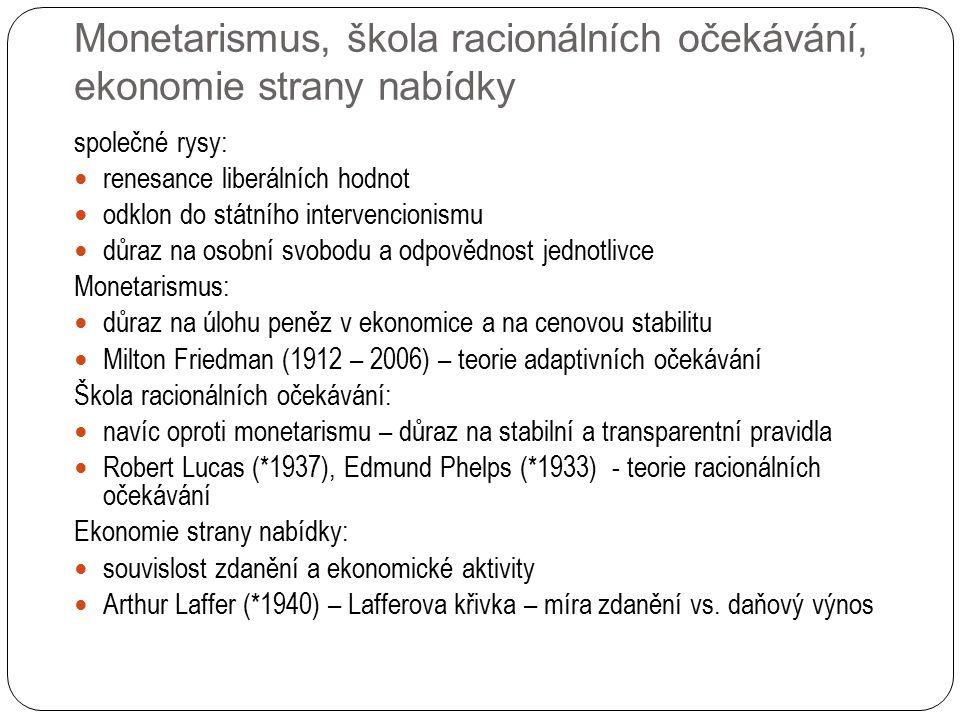 Monetarismus, škola racionálních očekávání, ekonomie strany nabídky společné rysy: renesance liberálních hodnot odklon do státního intervencionismu důraz na osobní svobodu a odpovědnost jednotlivce Monetarismus: důraz na úlohu peněz v ekonomice a na cenovou stabilitu Milton Friedman (1912 – 2006) – teorie adaptivních očekávání Škola racionálních očekávání: navíc oproti monetarismu – důraz na stabilní a transparentní pravidla Robert Lucas (*1937), Edmund Phelps (*1933) - teorie racionálních očekávání Ekonomie strany nabídky: souvislost zdanění a ekonomické aktivity Arthur Laffer (*1940) – Lafferova křivka – míra zdanění vs.