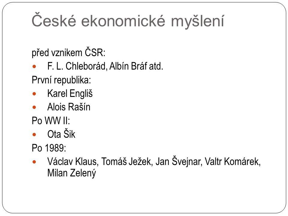 České ekonomické myšlení před vznikem ČSR: F. L. Chleborád, Albín Bráf atd.