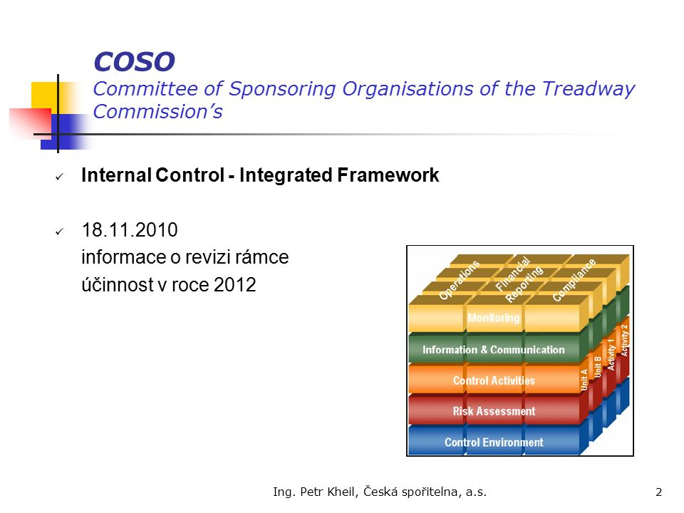 Ing. Petr Kheil, Česká spořitelna, a.s. 2 COSO Committee of Sponsoring Organisations of the Treadway Commission's Internal Control - Integrated Framew