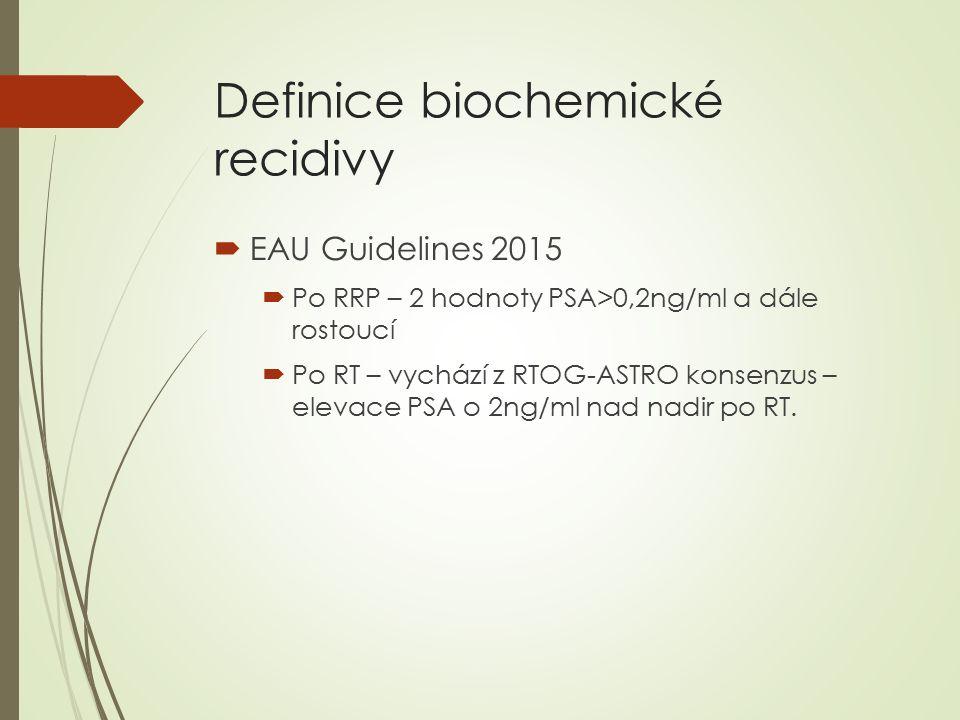 Definice biochemické recidivy  EAU Guidelines 2015  Po RRP – 2 hodnoty PSA>0,2ng/ml a dále rostoucí  Po RT – vychází z RTOG-ASTRO konsenzus – elevace PSA o 2ng/ml nad nadir po RT.