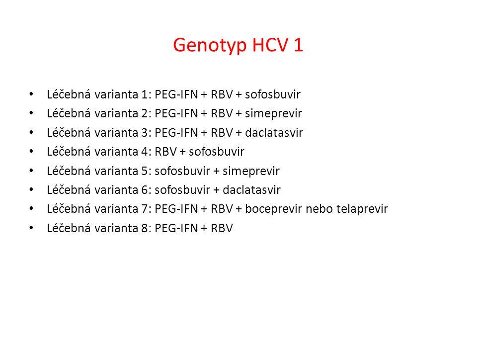 Genotyp HCV 1 Léčebná varianta 1: PEG-IFN + RBV + sofosbuvir Léčebná varianta 2: PEG-IFN + RBV + simeprevir Léčebná varianta 3: PEG-IFN + RBV + daclatasvir Léčebná varianta 4: RBV + sofosbuvir Léčebná varianta 5: sofosbuvir + simeprevir Léčebná varianta 6: sofosbuvir + daclatasvir Léčebná varianta 7: PEG-IFN + RBV + boceprevir nebo telaprevir Léčebná varianta 8: PEG-IFN + RBV