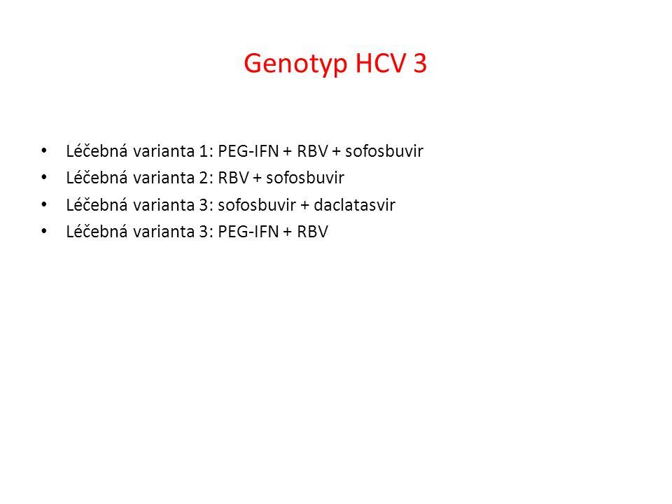 Genotyp HCV 3 Léčebná varianta 1: PEG-IFN + RBV + sofosbuvir Léčebná varianta 2: RBV + sofosbuvir Léčebná varianta 3: sofosbuvir + daclatasvir Léčebná varianta 3: PEG-IFN + RBV