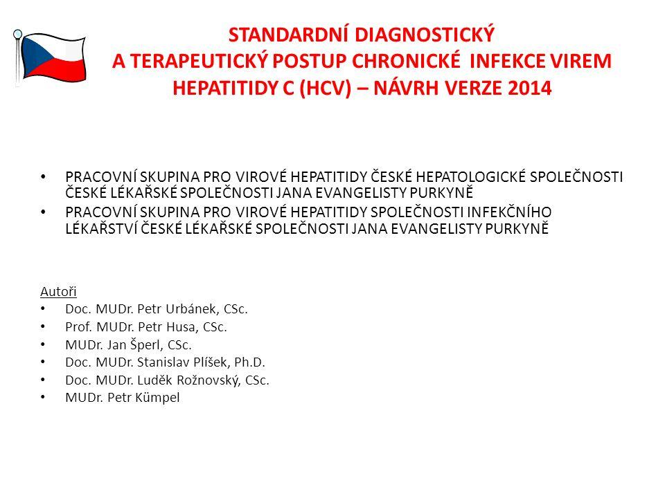 STANDARDNÍ DIAGNOSTICKÝ A TERAPEUTICKÝ POSTUP CHRONICKÉ INFEKCE VIREM HEPATITIDY C (HCV) – NÁVRH VERZE 2014 PRACOVNÍ SKUPINA PRO VIROVÉ HEPATITIDY ČESKÉ HEPATOLOGICKÉ SPOLEČNOSTI ČESKÉ LÉKAŘSKÉ SPOLEČNOSTI JANA EVANGELISTY PURKYNĚ PRACOVNÍ SKUPINA PRO VIROVÉ HEPATITIDY SPOLEČNOSTI INFEKČNÍHO LÉKAŘSTVÍ ČESKÉ LÉKAŘSKÉ SPOLEČNOSTI JANA EVANGELISTY PURKYNĚ Autoři Doc.