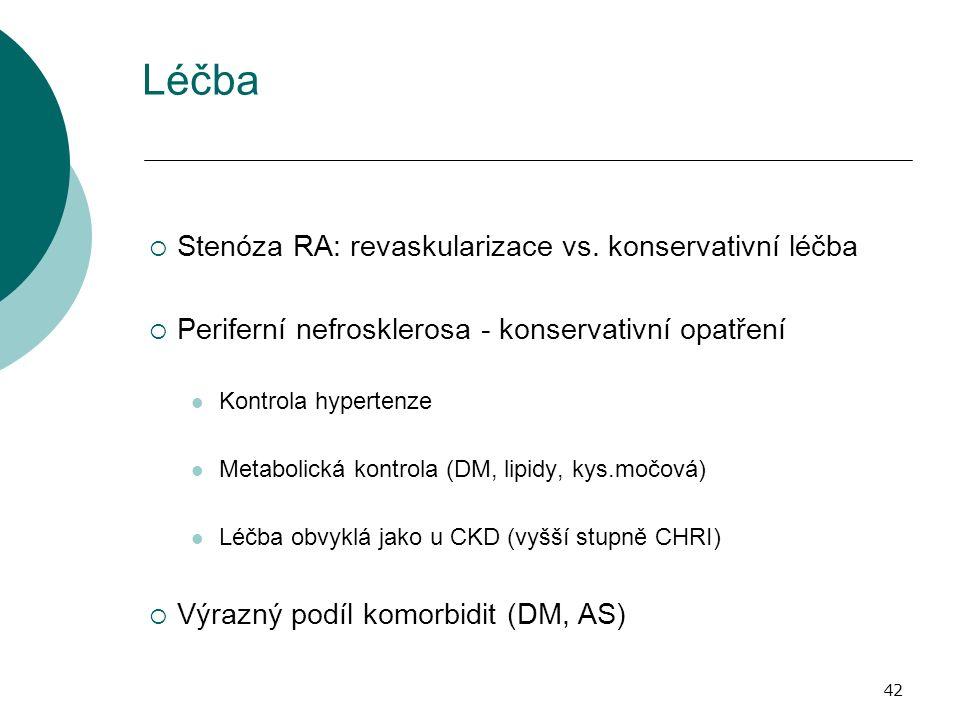 42 Léčba  Stenóza RA: revaskularizace vs. konservativní léčba  Periferní nefrosklerosa - konservativní opatření Kontrola hypertenze Metabolická kont