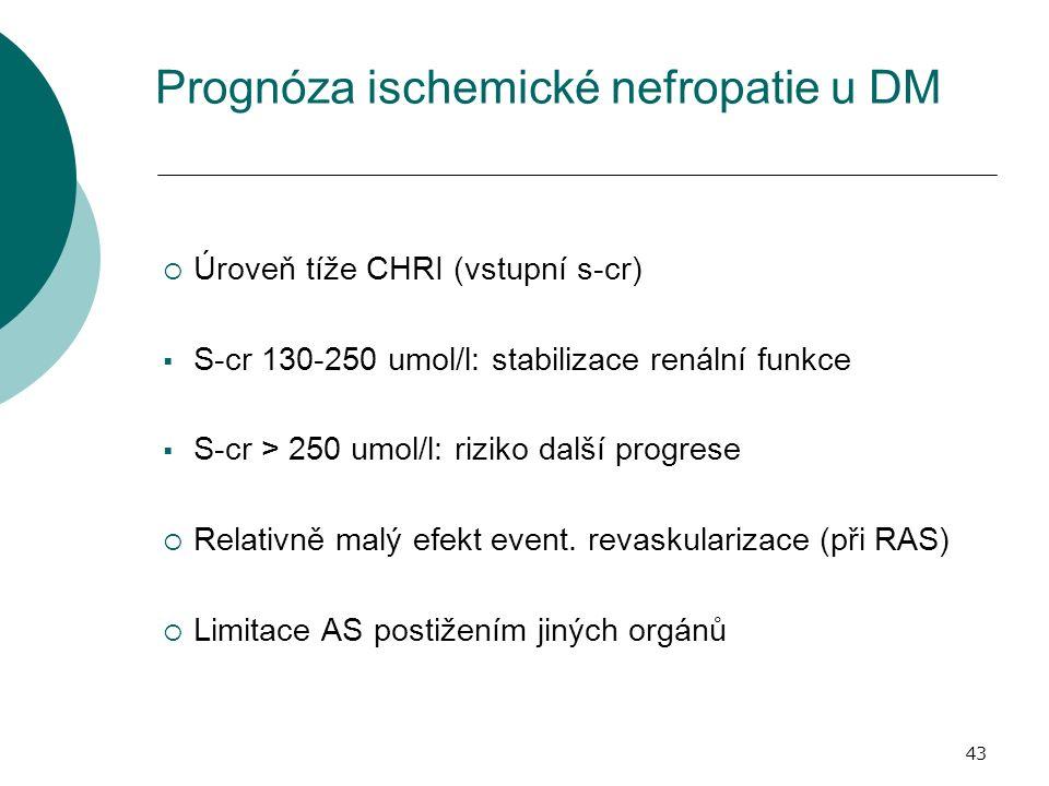 43 Prognóza ischemické nefropatie u DM  Úroveň tíže CHRI (vstupní s-cr)  S-cr 130-250 umol/l: stabilizace renální funkce  S-cr > 250 umol/l: riziko další progrese  Relativně malý efekt event.