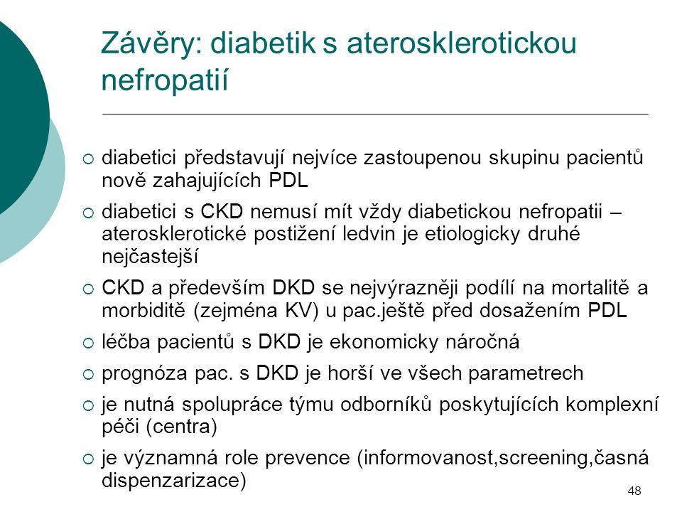 48 Závěry: diabetik s aterosklerotickou nefropatií  diabetici představují nejvíce zastoupenou skupinu pacientů nově zahajujících PDL  diabetici s CKD nemusí mít vždy diabetickou nefropatii – aterosklerotické postižení ledvin je etiologicky druhé nejčastejší  CKD a především DKD se nejvýrazněji podílí na mortalitě a morbiditě (zejména KV) u pac.ještě před dosažením PDL  léčba pacientů s DKD je ekonomicky náročná  prognóza pac.