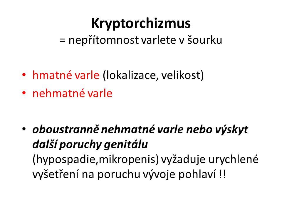 Kryptorchizmus = nepřítomnost varlete v šourku hmatné varle (lokalizace, velikost) nehmatné varle oboustranně nehmatné varle nebo výskyt další poruchy genitálu (hypospadie,mikropenis) vyžaduje urychlené vyšetření na poruchu vývoje pohlaví !!