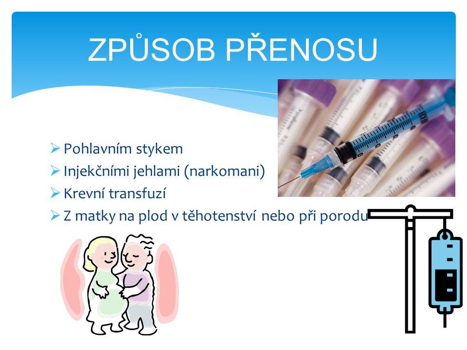 Pohlavním stykem  Injekčními jehlami (narkomani)  Krevní transfuzí  Z matky na plod v těhotenství nebo při porodu ZPŮSOB PŘENOSU
