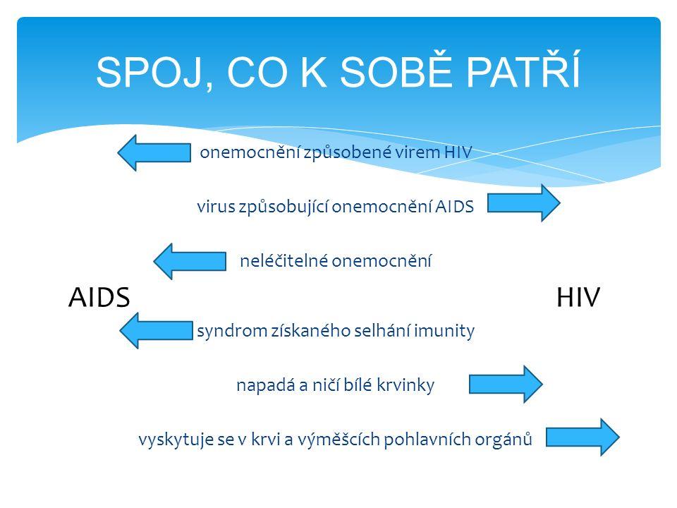 onemocnění způsobené virem HIV virus způsobující onemocnění AIDS neléčitelné onemocnění AIDS HIV syndrom získaného selhání imunity napadá a ničí bílé krvinky vyskytuje se v krvi a výměšcích pohlavních orgánů SPOJ, CO K SOBĚ PATŘÍ