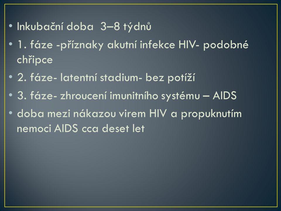 Inkubační doba 3–8 týdnů 1. fáze -příznaky akutní infekce HIV- podobné chřipce 2. fáze- latentní stadium- bez potíží 3. fáze- zhroucení imunitního sys