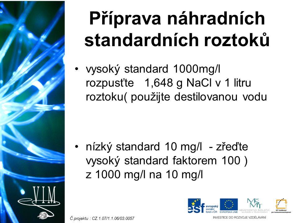 Č.projektu : CZ.1.07/1.1.06/03.0057 Příprava náhradních standardních roztoků vysoký standard 1000mg/l rozpusťte 1,648 g NaCl v 1 litru roztoku( použijte destilovanou vodu nízký standard 10 mg/l - zřeďte vysoký standard faktorem 100 ) z 1000 mg/l na 10 mg/l