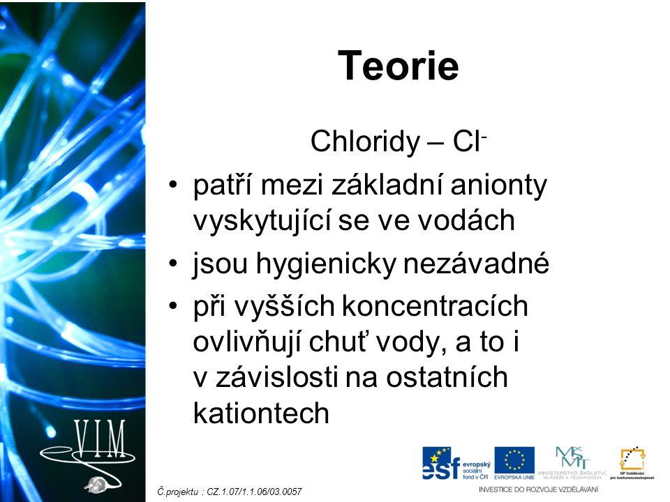 Č.projektu : CZ.1.07/1.1.06/03.0057 Teorie Chloridy – Cl - patří mezi základní anionty vyskytující se ve vodách jsou hygienicky nezávadné při vyšších koncentracích ovlivňují chuť vody, a to i v závislosti na ostatních kationtech