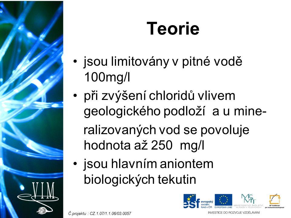 Č.projektu : CZ.1.07/1.1.06/03.0057 Teorie jsou limitovány v pitné vodě 100mg/l při zvýšení chloridů vlivem geologického podloží a u mine- ralizovanýc