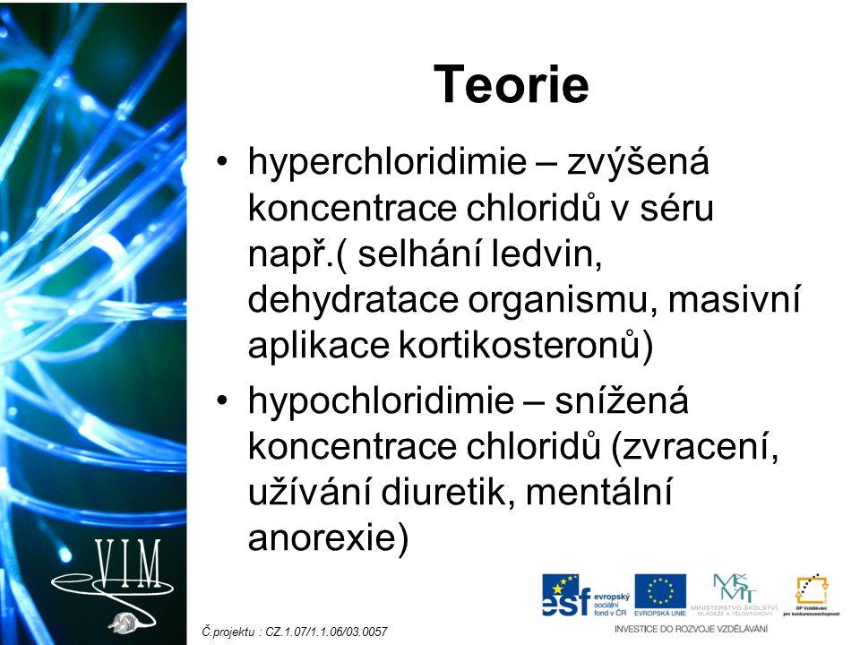 Č.projektu : CZ.1.07/1.1.06/03.0057 Teorie hyperchloridimie – zvýšená koncentrace chloridů v séru např.( selhání ledvin, dehydratace organismu, masivní aplikace kortikosteronů) hypochloridimie – snížená koncentrace chloridů (zvracení, užívání diuretik, mentální anorexie)