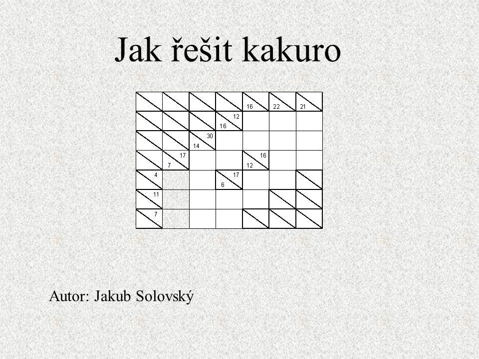 Jak řešit kakuro Nejdříve najdeme místa kde je jen jedna možnost řešení Tady můžeme napsat jen čísla 1; 2; 4 Tady můžeme napsat jen čísla 1; 3 Protože v modrém sloupci nemůže být trojka, musí tady být jednička.