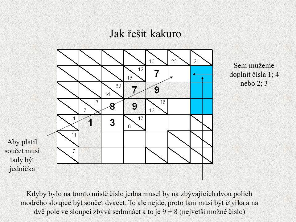 Jak řešit kakuro Sem můžeme doplnit čísla 1; 4 nebo 2; 3 Kdyby bylo na tomto místě číslo jedna musel by na zbývajících dvou polích modrého sloupce být součet dvacet.
