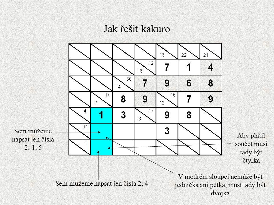 Jak řešit kakuro Sem můžeme napsat jen čísla 2; 1; 5 Sem můžeme napsat jen čísla 2; 4 V modrém sloupci nemůže být jednička ani pětka, musí tady být dvojka Aby platil součet musí tady být čtyřka