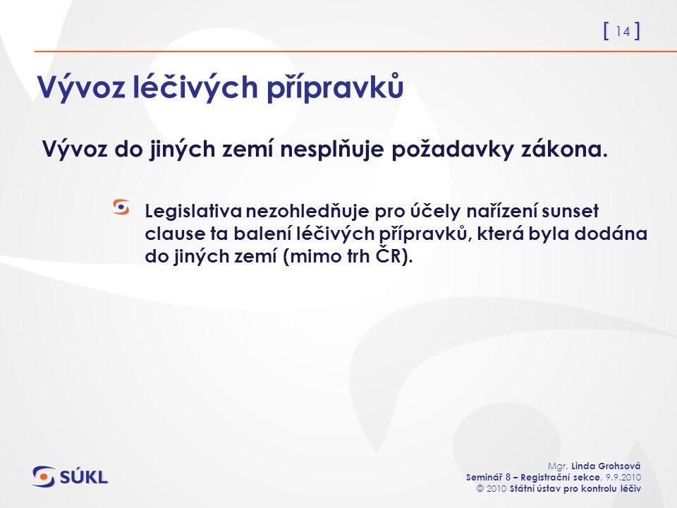 [ 14 ] Mgr. Linda Grohsová Seminář 8 – Registrační sekce, 9.9.2010 © 2010 Státní ústav pro kontrolu léčiv Vývoz léčivých přípravků Legislativa nezohle