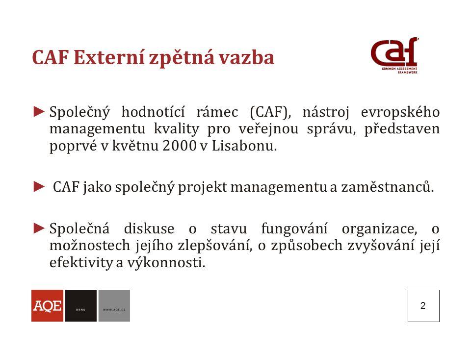 2 CAF Externí zpětná vazba ► Společný hodnotící rámec (CAF), nástroj evropského managementu kvality pro veřejnou správu, představen poprvé v květnu 2000 v Lisabonu.