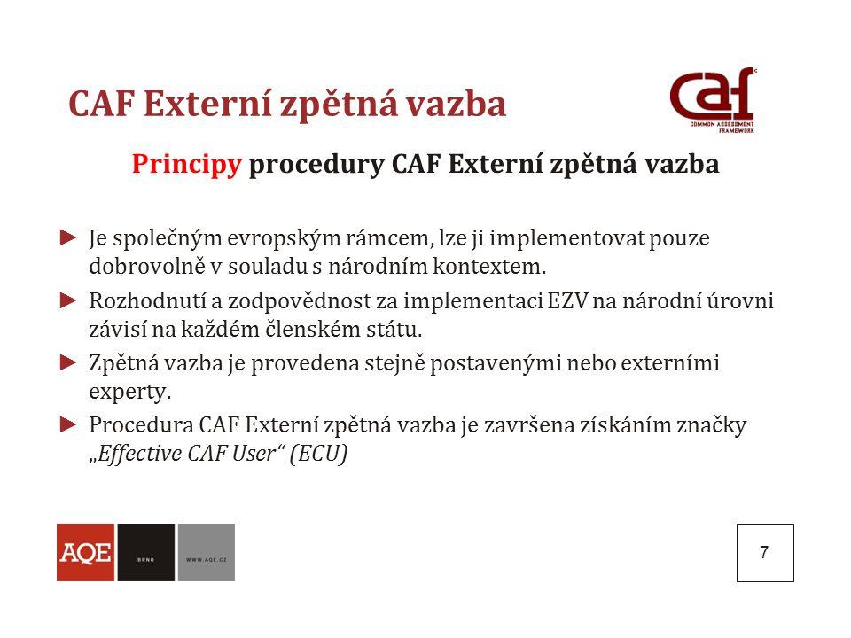 7 CAF Externí zpětná vazba Principy procedury CAF Externí zpětná vazba ► Je společným evropským rámcem, lze ji implementovat pouze dobrovolně v souladu s národním kontextem.